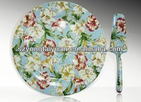 Chinese wholesale Porcelain full flower design cake stand with server