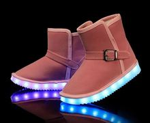 Winter snow fashion boot led light up shoes for women man