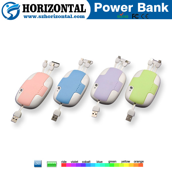 New creative Built-in cable power bank 4000mah ,mobile battery bank power bank for sony ericsson ,power bank hippo charger