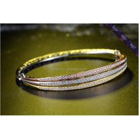 SBR0009-Rose Gold 18K Gold White Gold 3 Color Mix Bangles Bracelet 925 Sterling SIlver Jewellery