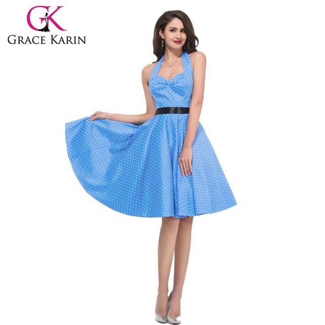 Grace Karin 7 Colors Ladies Halter Fabulous Short Cotton Polka Dots 50s Vintage Dress CL4599-2#