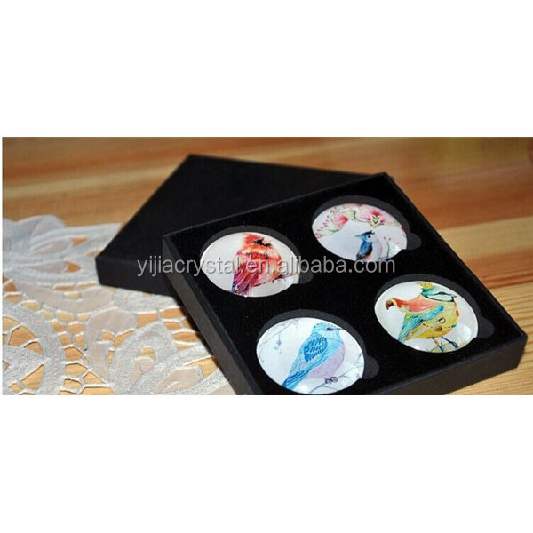 Cheap Custom 4pcs/Set K9 Crystal Glass Fridge Magnets with Gift Box