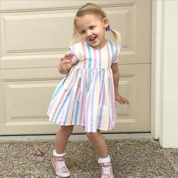 Hot style little girl's rainbow dress girls pure cotton puffy dress