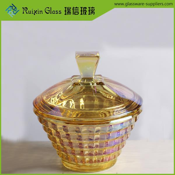 Elegant bowl with crackled glass,15x10.5 cm lily candy glass bowl in shenzhen