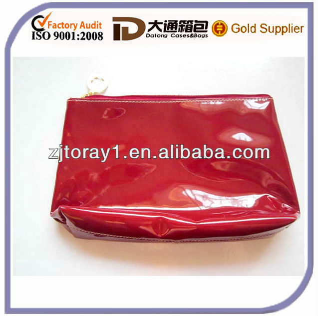 Travel Pouch Red PVC Make Up Bag Patent Carry Bag