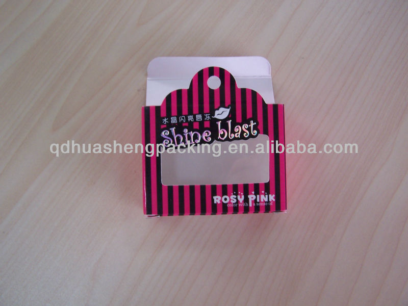 Customized hang swing small paper box with PVC for lipstick