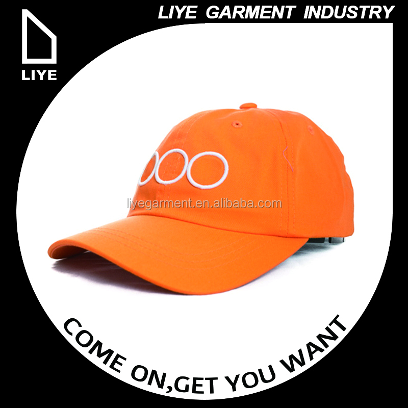 custom making orange curved brim baseball cap with design your own 2D embroidery logo