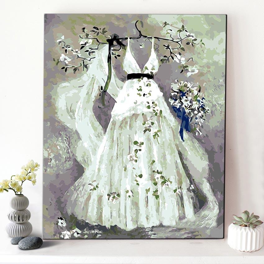 Venta al por mayor vestidos de novia pintados-Compre online los ...