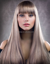 Wedding Hairstyles Brazilian Human Hair Silk Straight Grey Color Brazilian Hair Lace Front Wig