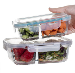 SINOGLASS trade assurance unique design top airtight 640ml boroslicate glass food container with divider