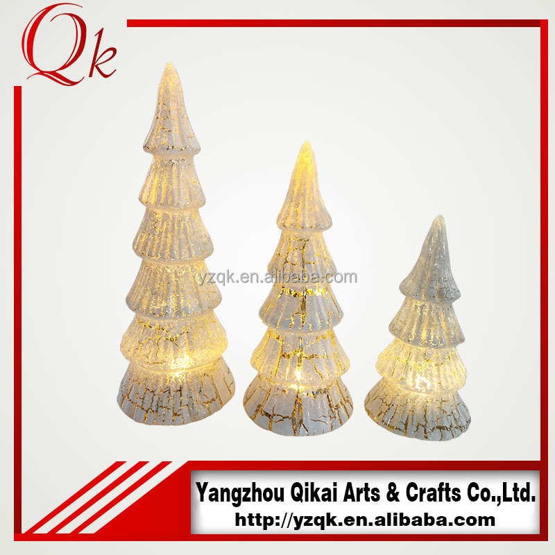 pretty glass christmas tree with led light for home decoration
