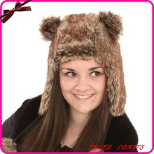 Womens Faux fur trapper hat with ears poms