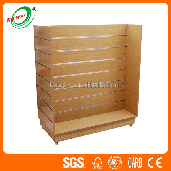 Retail Store Wooden Gondola Slatwall Display for Shoes