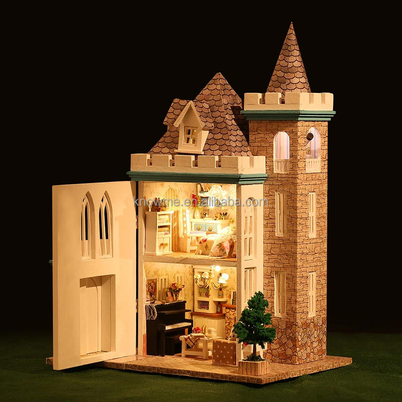 2018 new handmade lovely gifts wooden doll house for children girls holiday gift