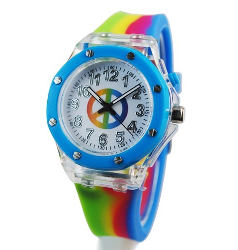 2015 ROHS standard kids popular flashing light transparent watch