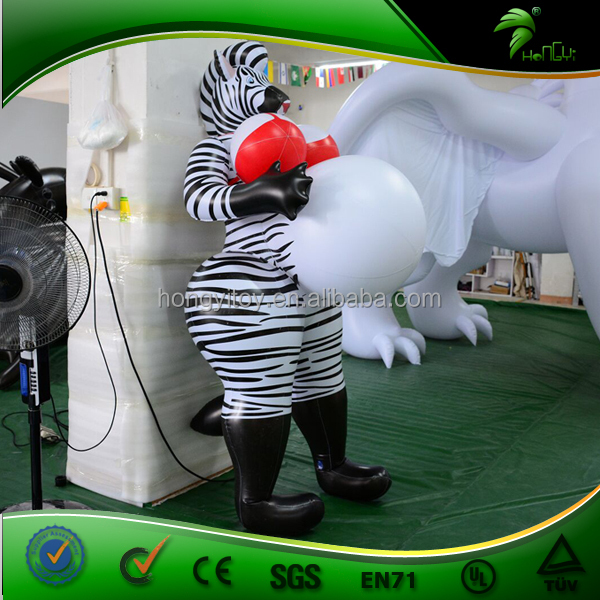 Customized Animal Shape Inflatable Zebra With Inflatable Big Belly / Lifelike Lovely Inflatable Sex Zebra