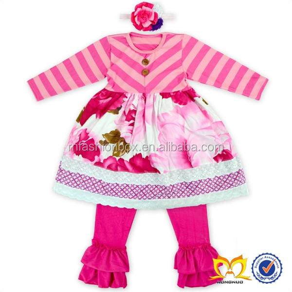 Cute Stripe Baby Girl Ruffle Set Spring Wholesale Boutique
