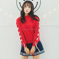 CC-W100753 Spring red women fleeve hoodies bandage sleeve school style women's casual sweatshirt hoody