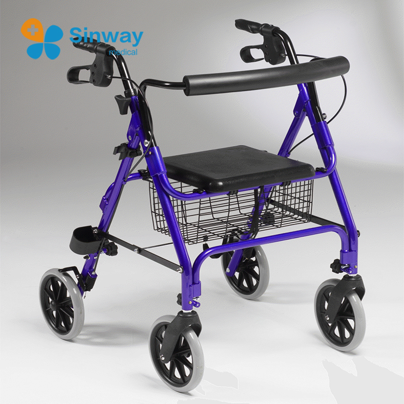 Height Adjustable Aluminum Foldable Rollator Walker For Elderly and Disable