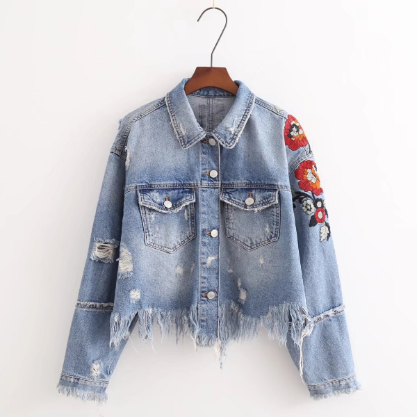 SP2438A Washed Flowers Embroidery Ripped <strong>Holes</strong> Long Sleeve Denim Jackets Women