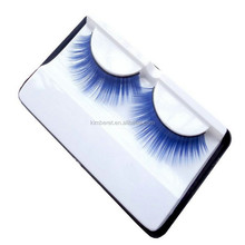 Premium Quality Blue Color 100% Human Hair False Made Mink Strip Eyelashes For Sexy Women