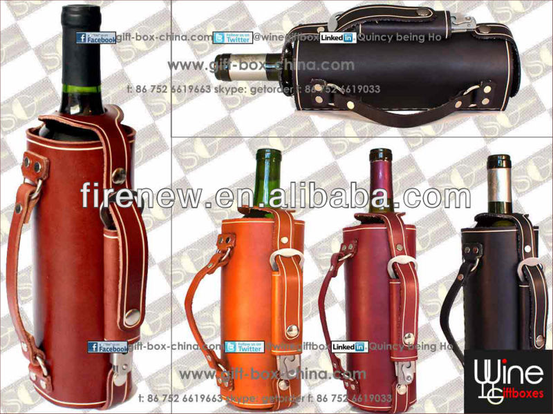 Single bottle PU leather wine bottle tote holder