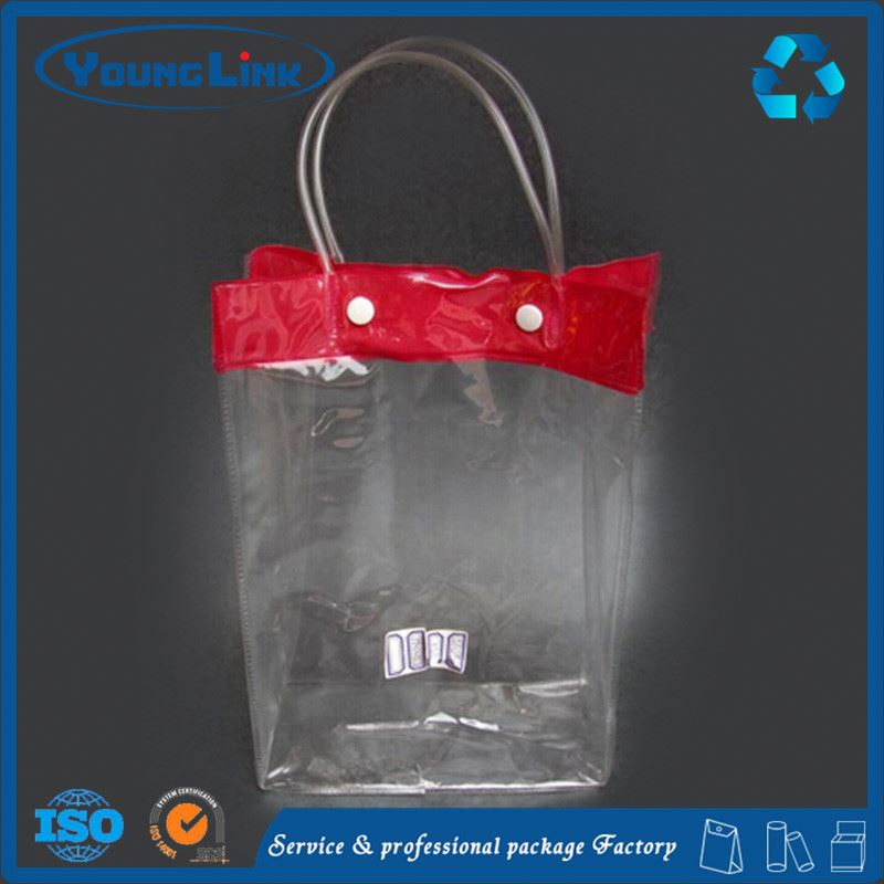 Transparent custom plastic tote bag with zipper for cosmetic