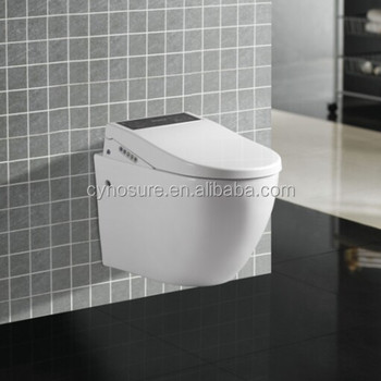 CY3501I-Unique design P-trap wall hung toilet with intelligent seat cover washdown WC