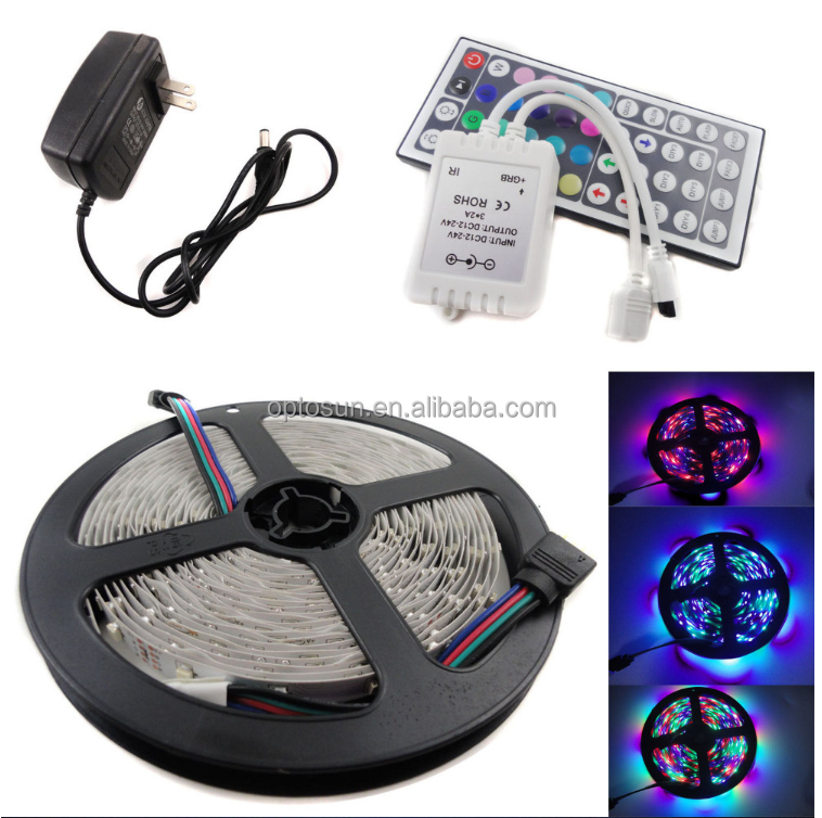 Hot! Cheap RGB led strip 5050 flexible strip light DC12V 5M 300led +44key IR remote controller
