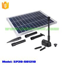 Electricity cost free 6.9ft head 360GPH flow rate brushless solar fountain pump for koi pond (SP20-501210)
