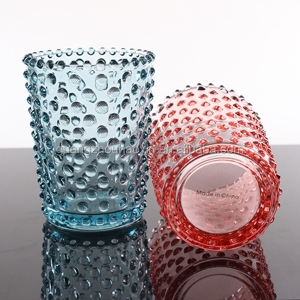 OEM Customized wholesale round bubble cheap colored votive christmas glass candle cup holder