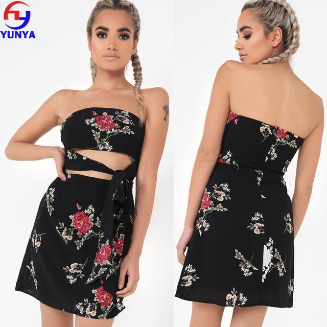 New boho style women off shoulder beach summer dresses floral print vintage black maxi dress