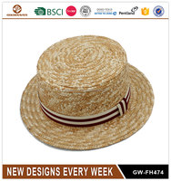 New design wholesale hand made custom wheat straw boater hats