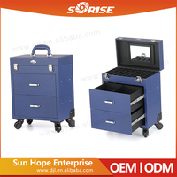 2016 Professional Fashion Blue Nail Artist Cosmetic Makeup Trolley Case with Mirror and Drawer