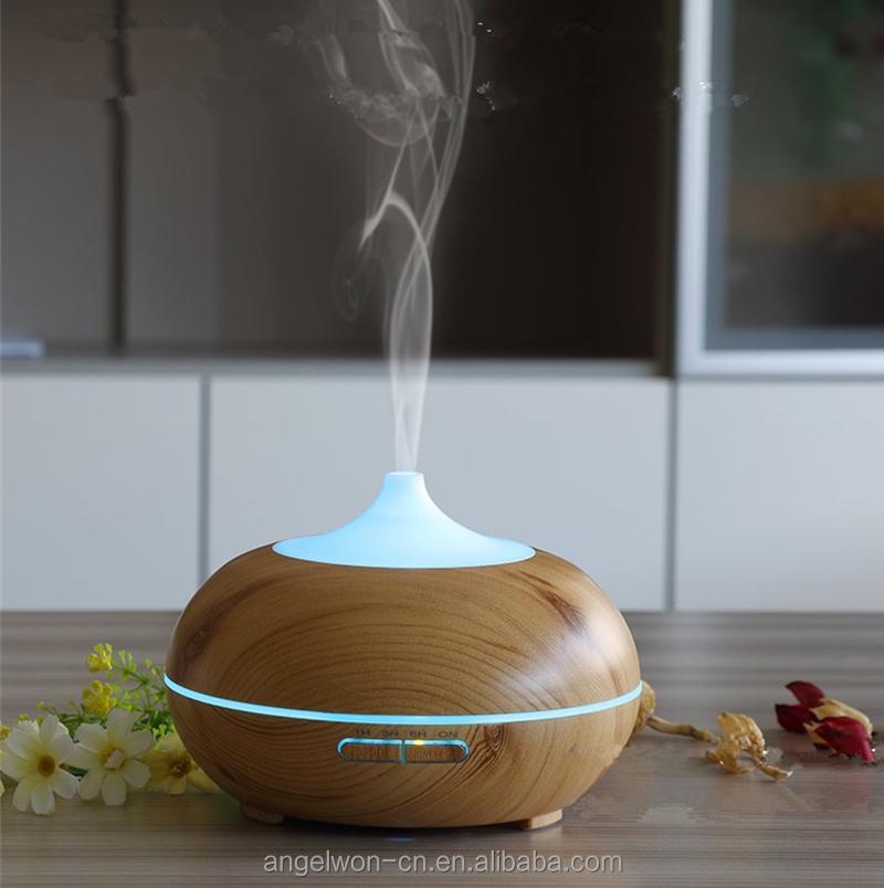 300ml wood grain aroma oil diffuser cool air humidifier fragrance ultrasonic mist maker with LED light