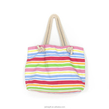 wholesale big capacity colorful stripe canvas beach tote bags with rope handle