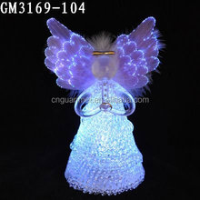 factory price wholesale fashion small glass angels with led lights for decoration and gift