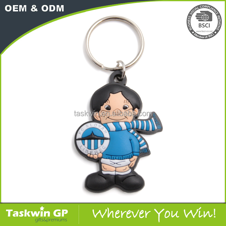 2017 cheap premium gifts high quality soft PVC keyring in cartoon character shape,plastic keychain of creation