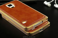 2014 New Luxury Slim Ultra Thin Aluminum Metal Phone Bumper High Quality Real Leather Back Case for Samsung Galaxy S5 i9600