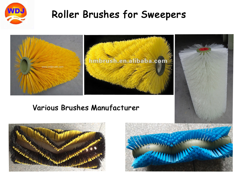 Anhui huanmei flat or convoluted tractor mount sweeper brushes factory