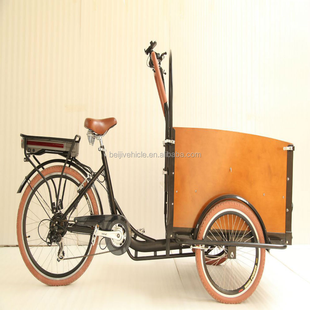 CE best price electric cargo bike family use kids dutch cargo tricycle two front wheels