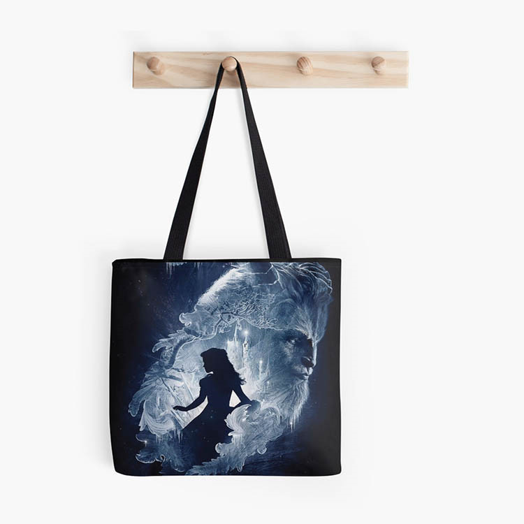 new design Beauty with beast in dark night high quality women tote handbag