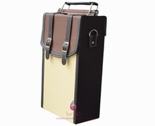 new arrival 2 bottles leather wine case OEM