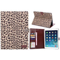 Hot sell wallet leather case for ipad air 2, PU case with photo frame for ipad 6 leopard design