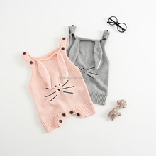 Ins Hot sale kids Spring cotton kintted romper baby bodysuit Bunny ear cute strip bodysuit for Easter Day