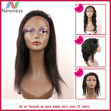 Super Soft Jet Black Can Be Colored 100% quality manufacturers remy full lace human hair wigs