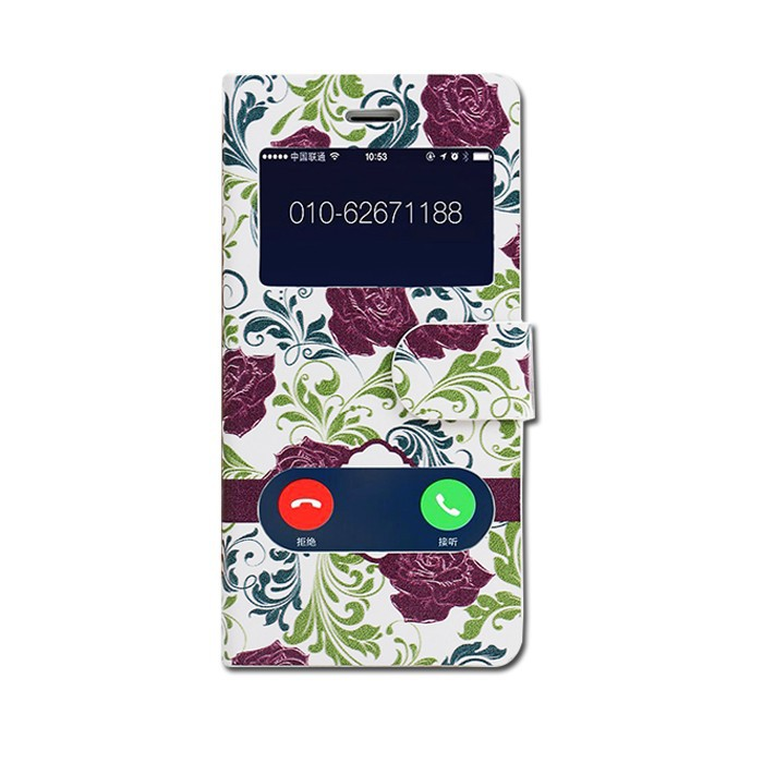 Flower Pattern smart cover case for huawei ascend mate 7