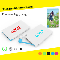 Customized Logo ultra slim credit card 2500 mah power bank build in cable
