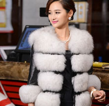 Artificial Brand famous design Customized Color White / Fox Fur coats outerwear