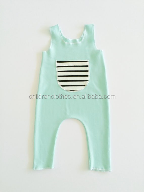 Free shipping baby clothes big pocket green harem knitwear romper turkish clothing